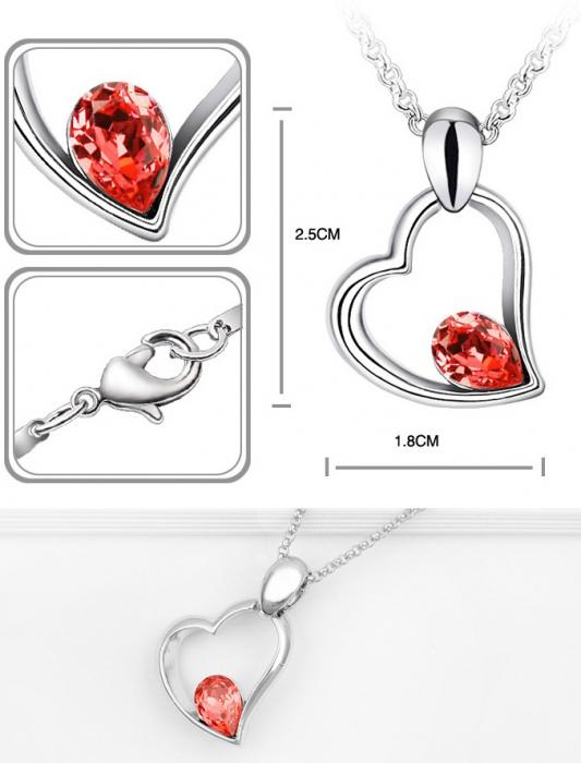 Colier EXPENSIVE HEART  rosu cu cristale 1