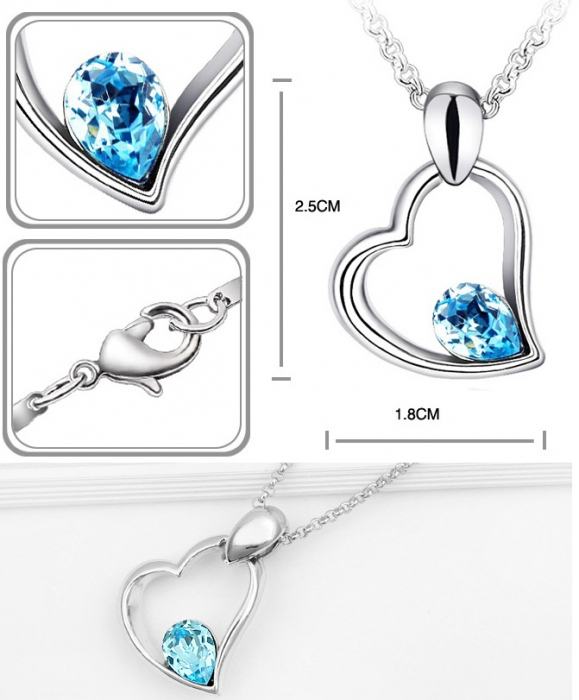 Colier EXPENSIVE HEART  bleo-aquamarine cu cristale 1