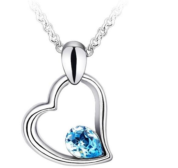Colier EXPENSIVE HEART  bleo-aquamarine cu cristale 0