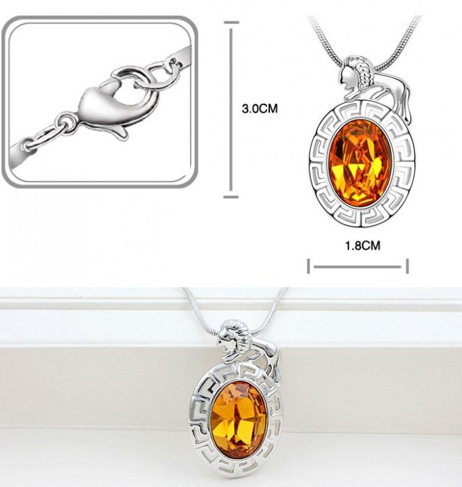 Colier Horoscop - Leu orange cu cristale si placat cu aur [1]