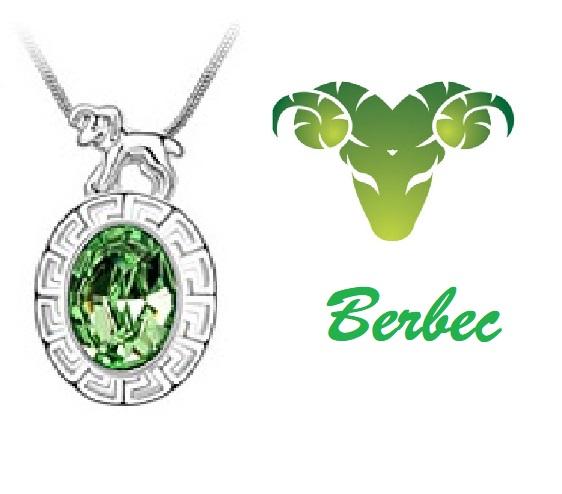 Colier Horoscop - Berbec  verde cu cristale si placat cu aur [0]