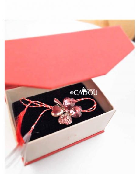 Colier cu cristale Sweet 4 Leaf Rose placat cu aur si garantie 6 luni 0
