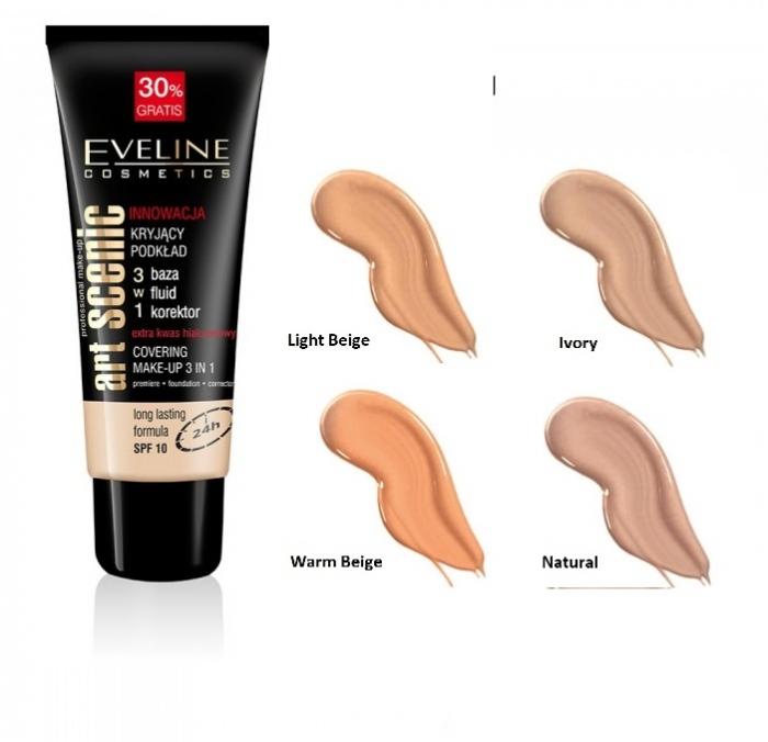 Fond de ten 3in1,primer, fond de ten si corector, Eveline Cosmetics, Art Scenic 0