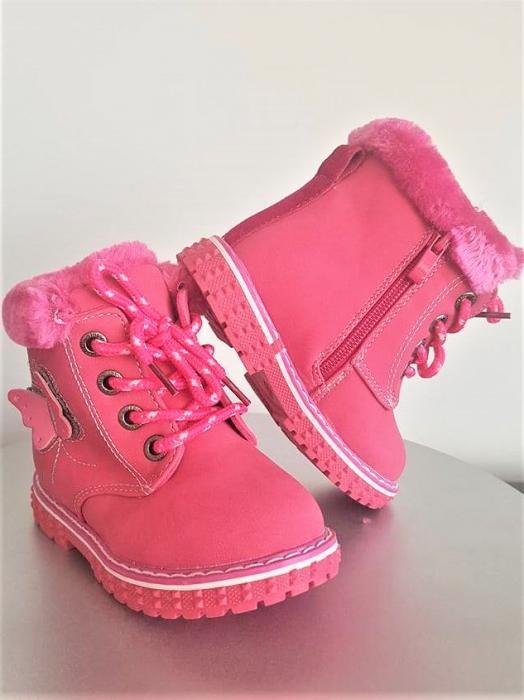 Ghete blanite cu blana fete marimi 21-25, inchidere cu scai si fermoar,culoare roz inchis 0