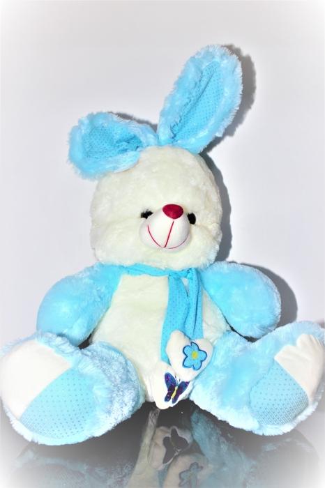Iepuras din plus alb cu bleo 50cm, cadoul ideal de Valentine's Day 0