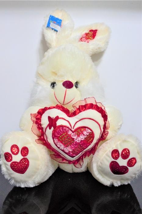 Iepuras din plus alb cu roz 40cm, cadoul ideal de Valentine's Day 0