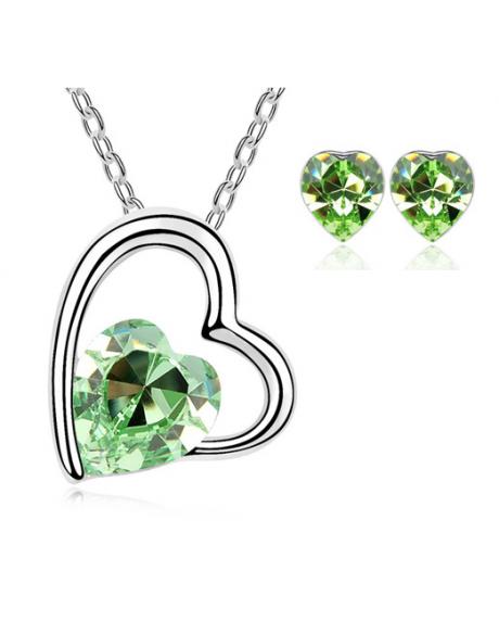 Set bijuterii Sweet Leaf cu cristale Green peridot, placat cu aur 18K si garantie 6 luni [0]