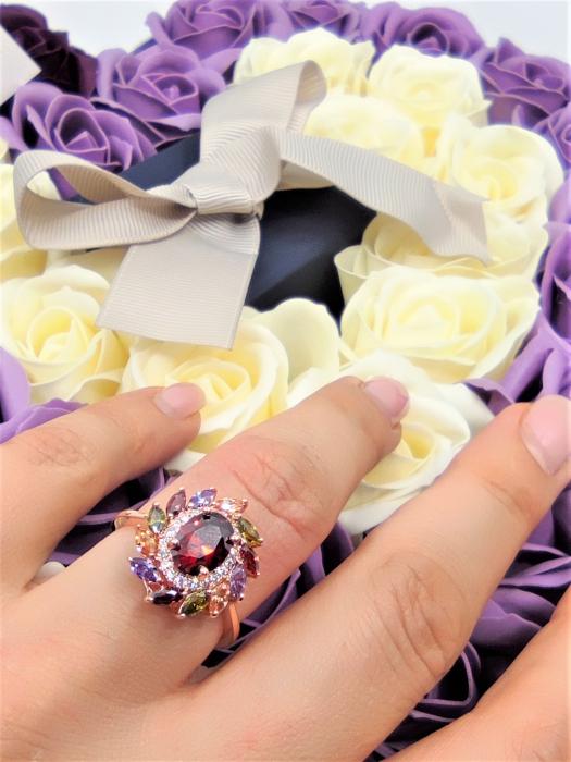 Inel Beautifull Flower diametru 18cm cu cristale placat cu aur 18k [2]