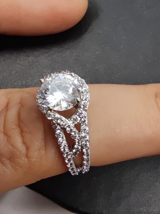 Inel Beautifull White diametru 17 cm cu cristale placat cu aur 18k [0]