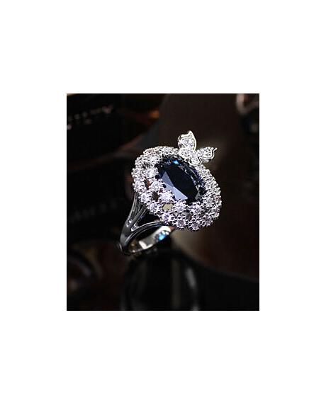 Inel Blue Butterfly diametru 18 cm cu cristale Swarovski placat cu aur 18k 0