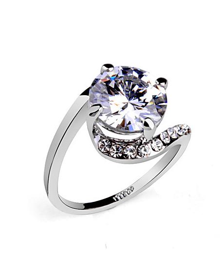 Inel Clasic White diametru 19 cm cu cristale Swarovski placat cu aur 18k 0