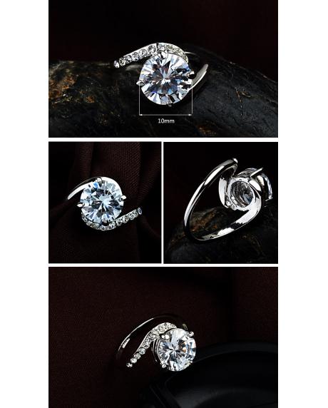 Inel Clasic White diametru 19 cm cu cristale Swarovski placat cu aur 18k 1