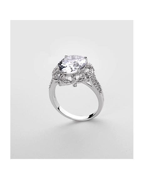 Inel KARINA White diametru 16cm  cu cristale Swarovski placat cu aur 18k + cercei cadou 0