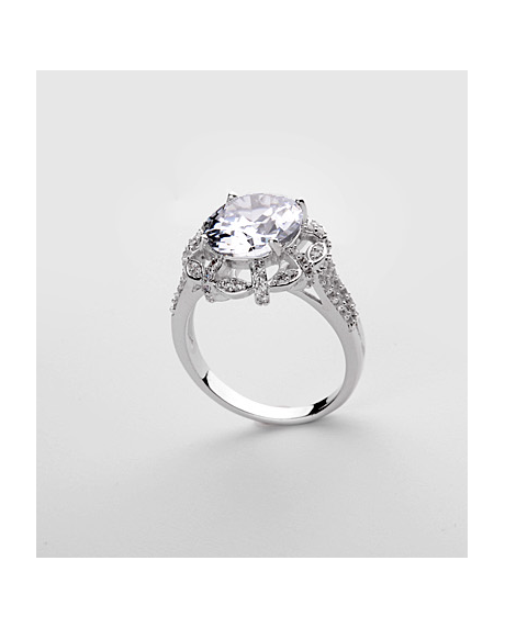 Inel KARINA White diametru 19 cm cu cristale Swarovski placat cu aur 18k 0