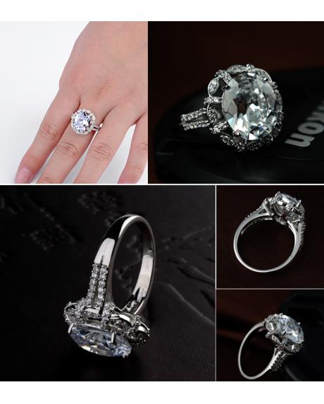 Inel KARINA White diametru 16cm  cu cristale Swarovski placat cu aur 18k + cercei cadou 1