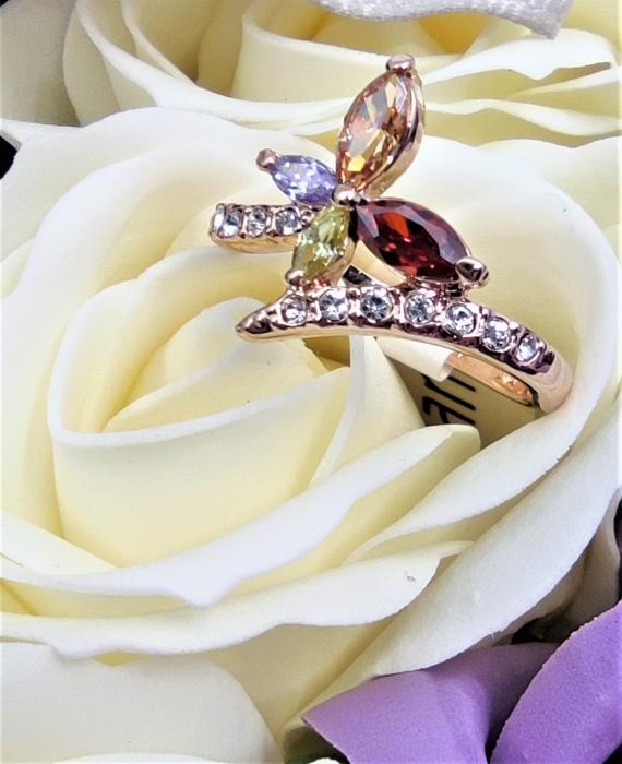 Inel Regal Drop multicolor diametru 16cm cu cristale, placat cu aur 18k [3]
