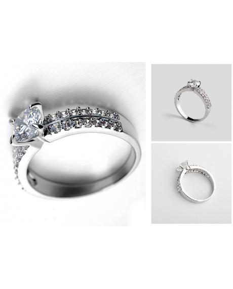 Inel Regal White diametru 17cm cu cristale Swarovski placat cu aur 18k [0]