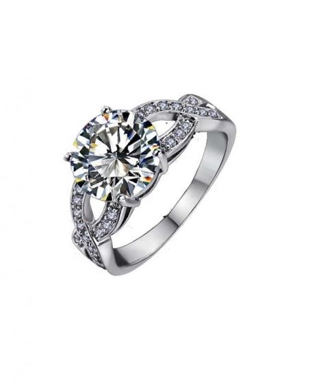 Inel Beautifull White diametru 18 cm cu cristale placat cu aur 18k 0