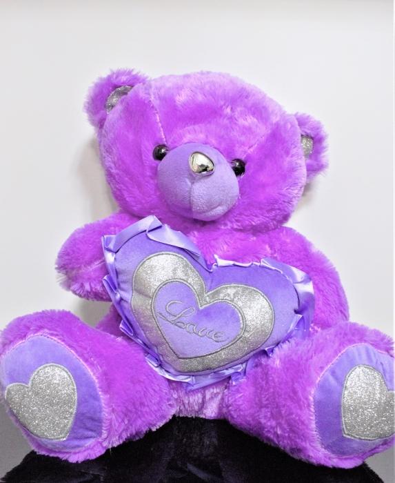 Jucarie de plus, Ursulet din plus mov 50cm, cadoul ideal de Valentine's Day 0