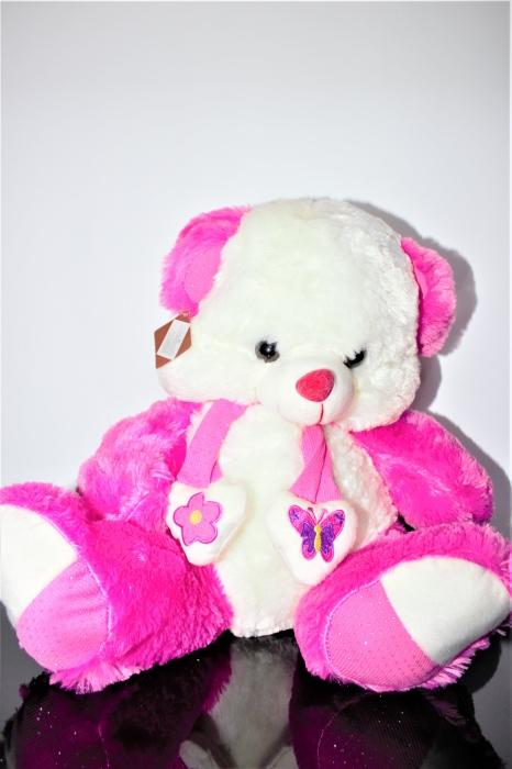 Jucarie de plus, Ursulet din plus alb cu roz 50cm, cadoul ideal de Valentine's Day 0
