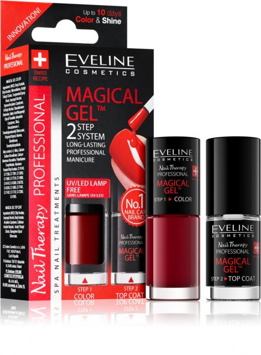 Lac Unghii Cu Tratament + Top Coat, Magical Gel Eveline Cosmetics, Cod 04 [0]