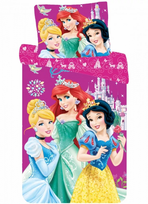 Lenjerie de pat fete Princess 140×200cm, 70×90 cm 0