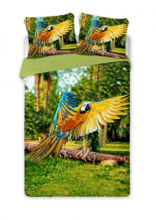 Lenjerie de pat licenta Papagali Parrots percale bedset 4D marime 160x200cm 0