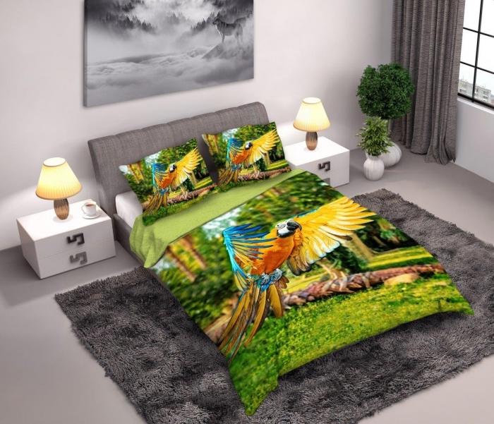 Lenjerie de pat licenta Papagali Parrots percale bedset 4D marime 160x200cm 1