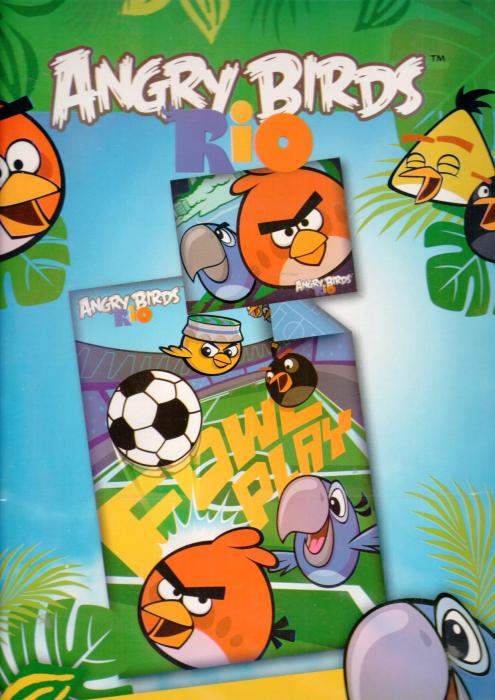 Lenjerie de pat licenta Disney Angry Birds RIO cu 2 fete 140×200 cm, 70×90 cm 0