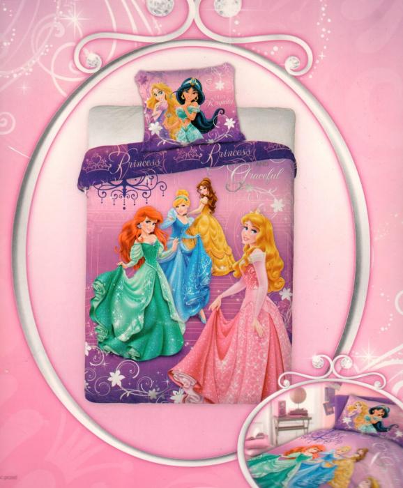 Lenjerie de pat licenta Disney Princess marime 160×200 cm, 70x80 cm 0