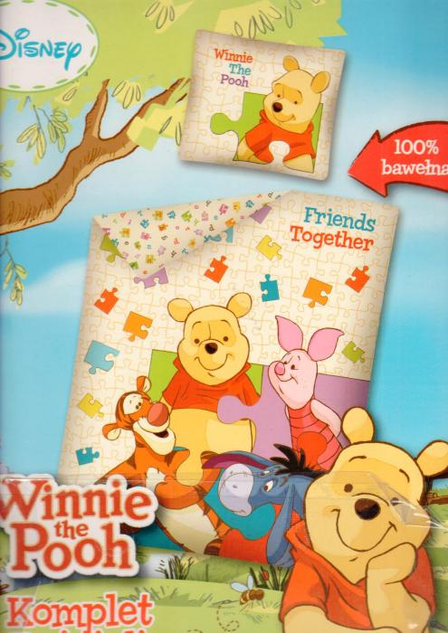 Lenjerie de pat licenta Disney Winnie the Pooh marime 140×200 cm, 80x80 cm 0