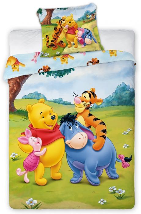 Lenjerie de pat licenta Winnie the Pooh  100x135 cm pentru bebe 0