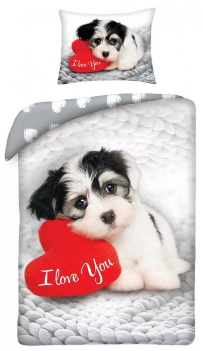 Lenjerie de pat pentru copii Love Dog 140×200cm, 70×90 cm 0