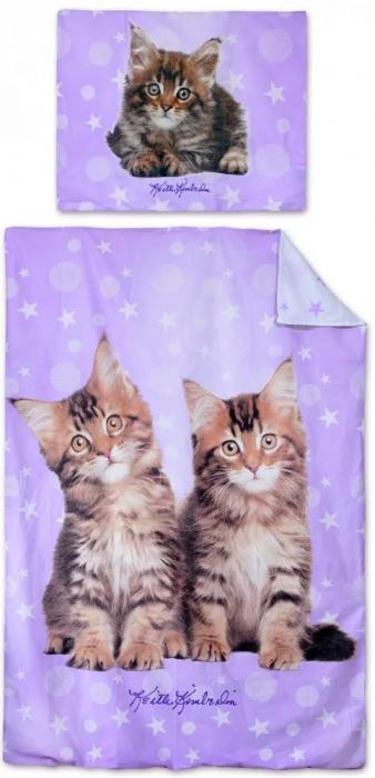Lenjerie de pat pentru copii Pisica 140×200cm, 70×90 cm 0