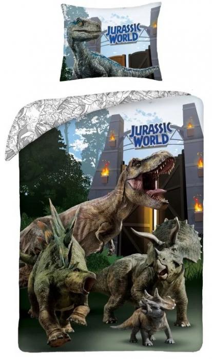 Lenjerie de pat pentru copii Jurassic  140×200cm, 70×90 cm 0