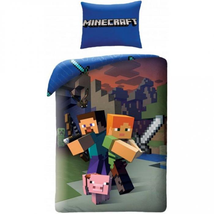 Lenjerie de pat pentru copii Minecraft  140×200 cm, 70×90 cm, Disney, 100% bumbac [0]