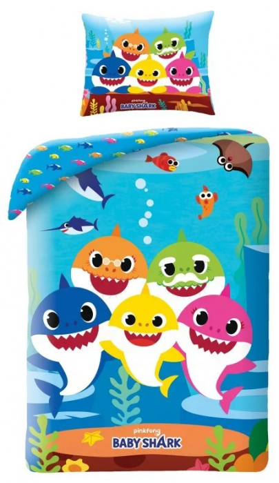 Lenjerie de pat pentru copii Baby Shark140×200cm, 70×90 cm 0