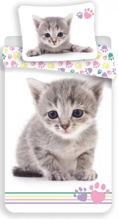Lenjerie de pat pentru copii Pisica 140×200cm, 70×90 cm [0]