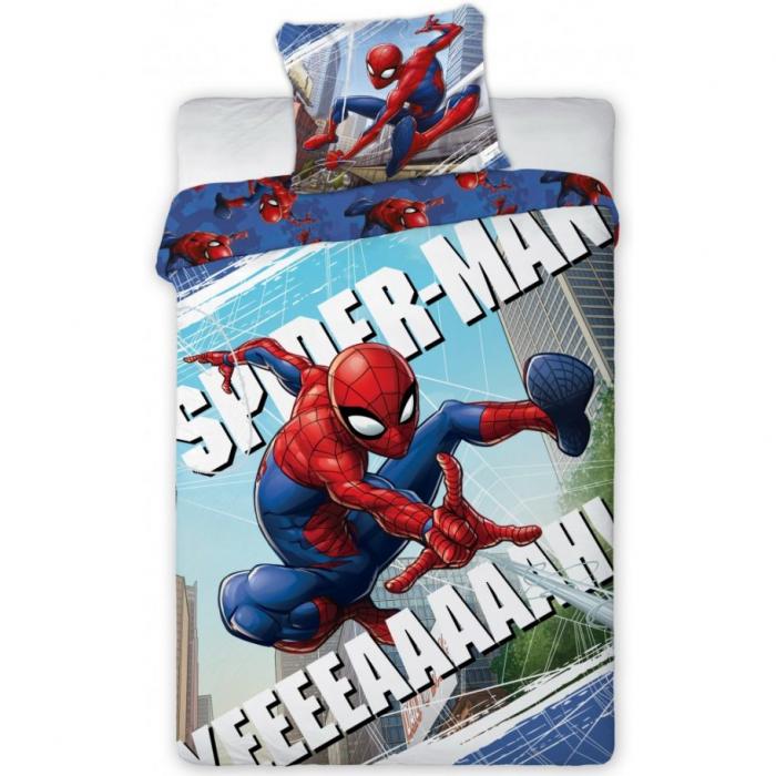 Lenjerie de pat pentru copii Spiderman 140×200 cm, 70×90 cm, Disney, 100% bumbac [0]