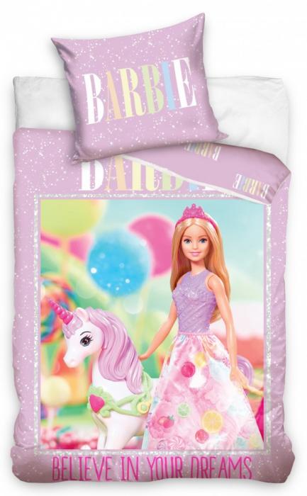 Lenjerie de pat fete Barbie 140×200cm, 70×90 cm [0]