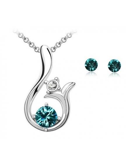 Set Glamour Dream turquoise cu cristale swarovski 0