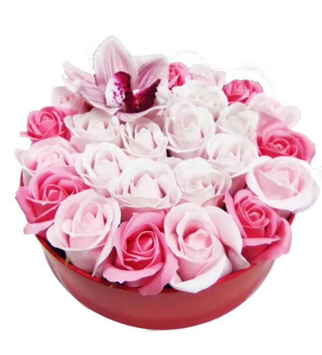 Pachet cadou cu 27 trandafiri din sapun roz si albi  AC-R314 [0]