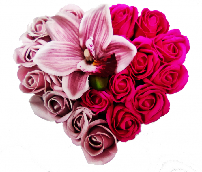 Pachet cadou cu 17 trandafiri din sapun roz si albi  AC-R315  inima [1]