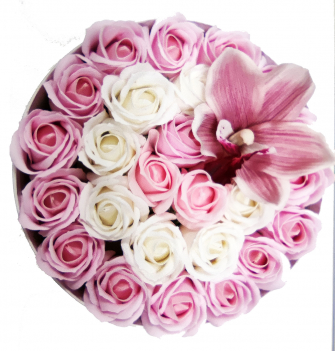 Pachet cadou cu 25 trandafiri din sapun si orhidee AC-R21-M1 [0]
