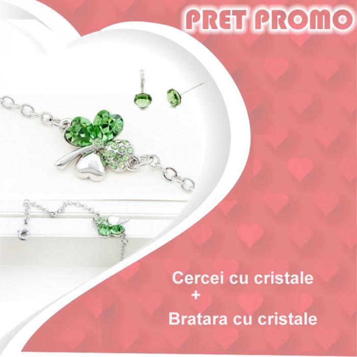 Pachet PROMO Bratara cu cristale si cercei asortati, placate cu aur 18K, colectie speciala ValentineS Day VD02 [0]
