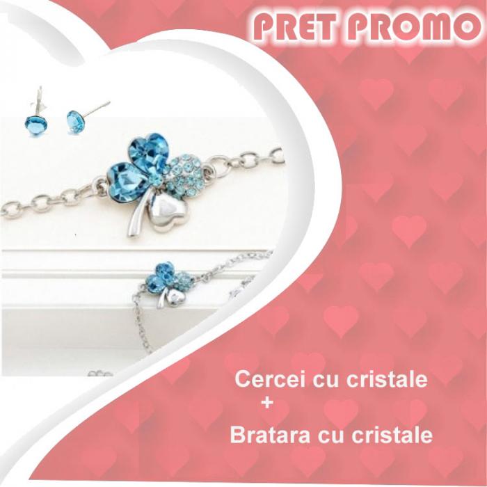 Pachet PROMO Bratara cu cristale si cercei asortati, placate cu aur 18K, colectie speciala ValentineS Day VD03 0