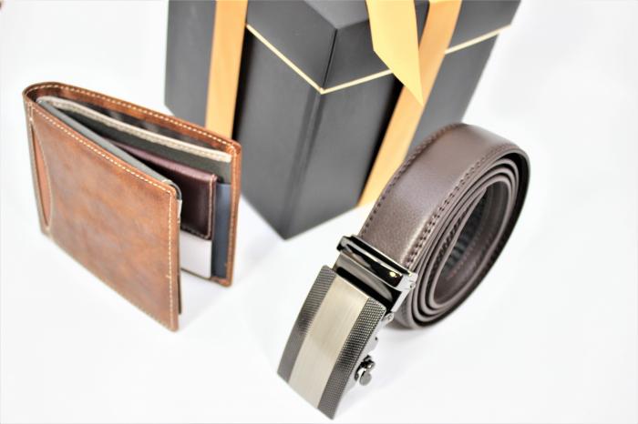 Pachet Promo Curea de barbati 135cm, automata, maro inchis N523.4  si Portofel de piele [1]