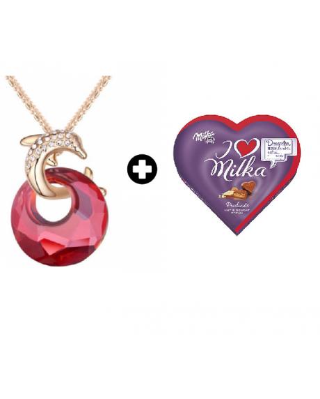 Colier Delfin Red cu cristale Swarovski + Cutie bomboane Milka 1