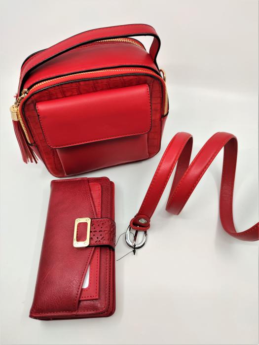 Pachet Promo Geanta casual H601, portofel A151R si curea rosie din piele ecologica [1]