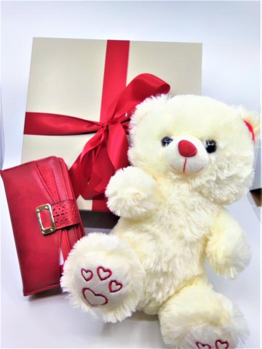 Pachet Promo portofel de dama rosu si ursulet de plus ivory 30cm [2]